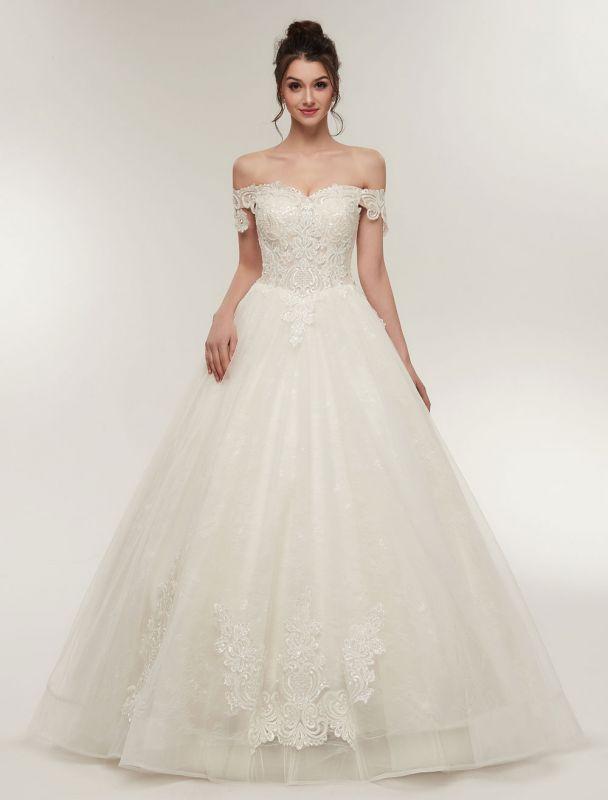 Princess Wedding Dresses Off The Shoulder Ivory Bridal Dresses Lace Applique Tulle Floor Length Ball Gowns