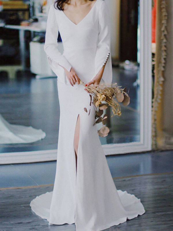 White Simple Wedding Dress Satin Fabric V-Neck Long Sleeves Buttons Mermaid Bridal Gowns