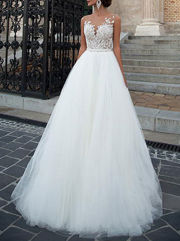 Vestidos de novia 2021 Cuello joya Una línea Longitud del piso Faja moldeada Vestido de desfile de tul Vestidos de novia