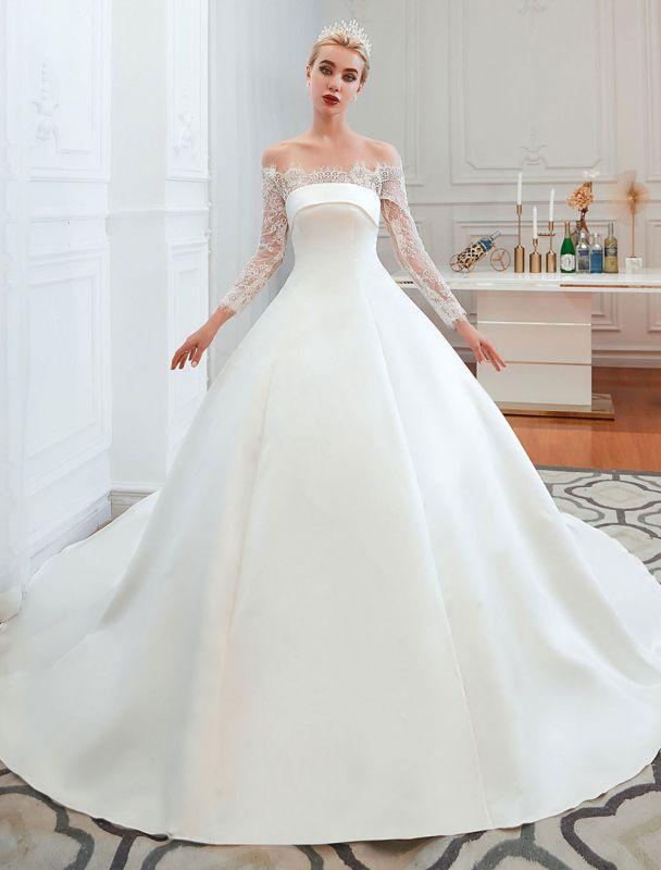 Vintage Brautkleid 2021 Schulterfrei Langarm Prinzessin Satin bodenlangen Brautkleider mit Zug With
