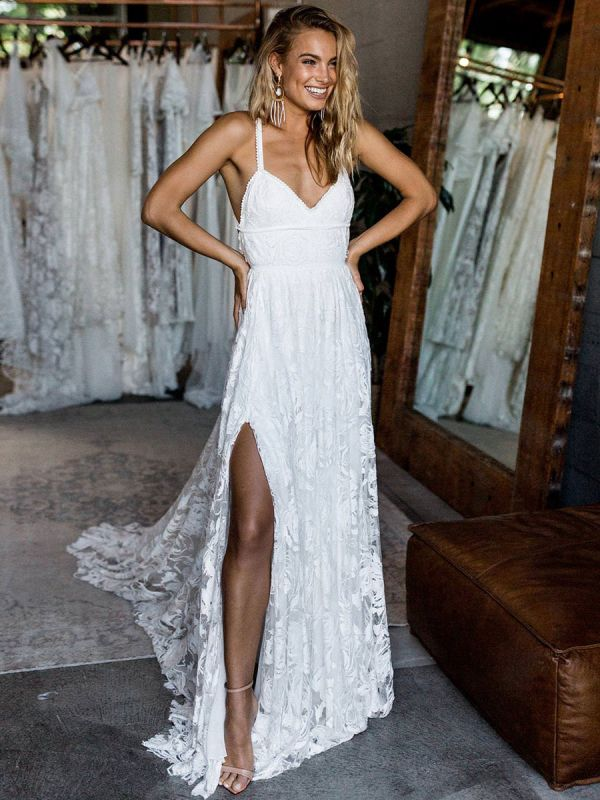 Beach Wedding Dress With Chapel Train White V-Neck Sleeveless Backless Lace Split Long Bridal Gowns