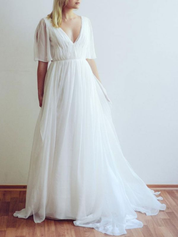 Simple Wedding Dress A Line Chiffon V Neck Half Sleeves Pleated Floor Length With Train Bridal Dresses