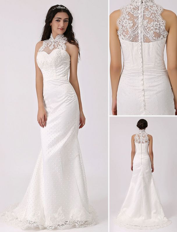 Vintage Inspired Illusion Neck Sheath/Column Wedding Dress With Lace Overlay Exclusive