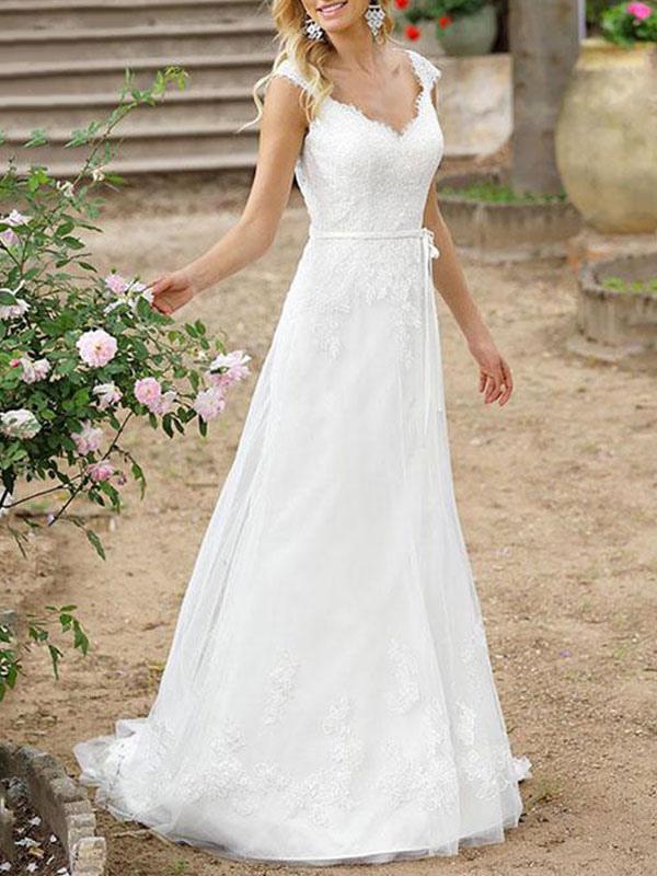 Einfache Hochzeitskleid A-Linie V-Ausschnitt Ärmellose Schärpe Bodenlangen Brautkleider Mit Zug