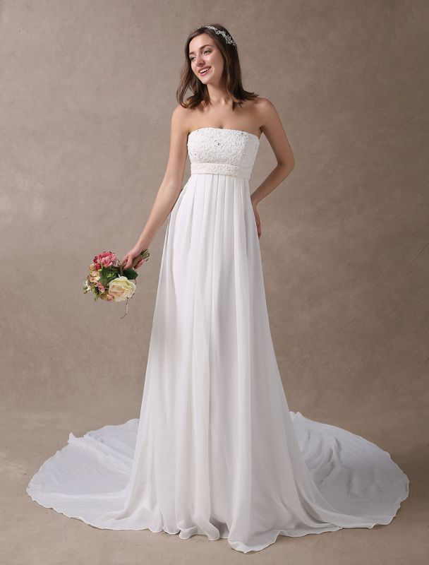 Beach Wedding Dresses Ivory Chiffon Strapless Lace Beaded Summer Bridal Gowns With Train Exclusive