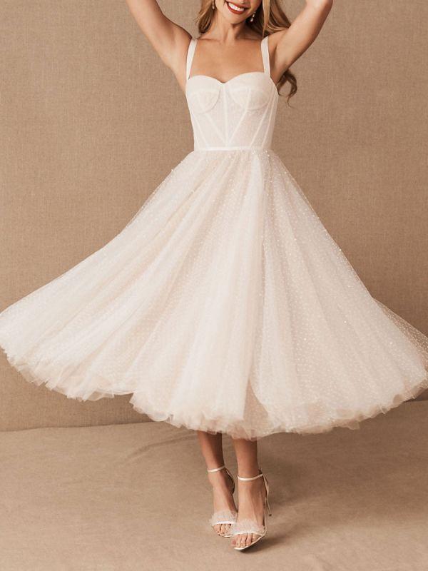Vestido corto de novia blanco T-Length A-Line Sweetheart Perlas Correas espaguetis Vestido largo hasta el té
