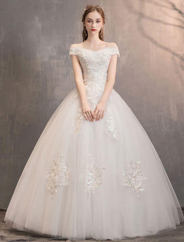 Elfenbein Brautkleider Tüll Schulterfrei Spitze Applique Bodenlangen Prinzessin Brautkleid