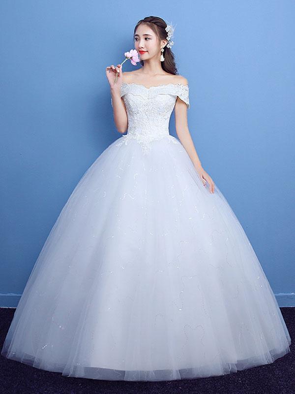 Robe de bal robe de mariée princesse silhouette parole longueur bateau cou manches courtes appliques tulle robes de mariée