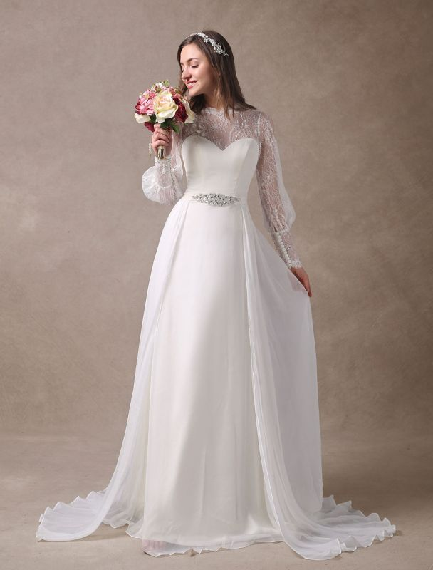Weiße Brautkleider Langarm Spitze Chiffon Perlenstickerei Schärpe Illusion Strand Brautkleid Mit Zug Exklusiv