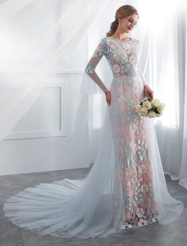 Colored Wedding Dresses Baby Blue Lace Long Sleeve Bridal Dress With Train