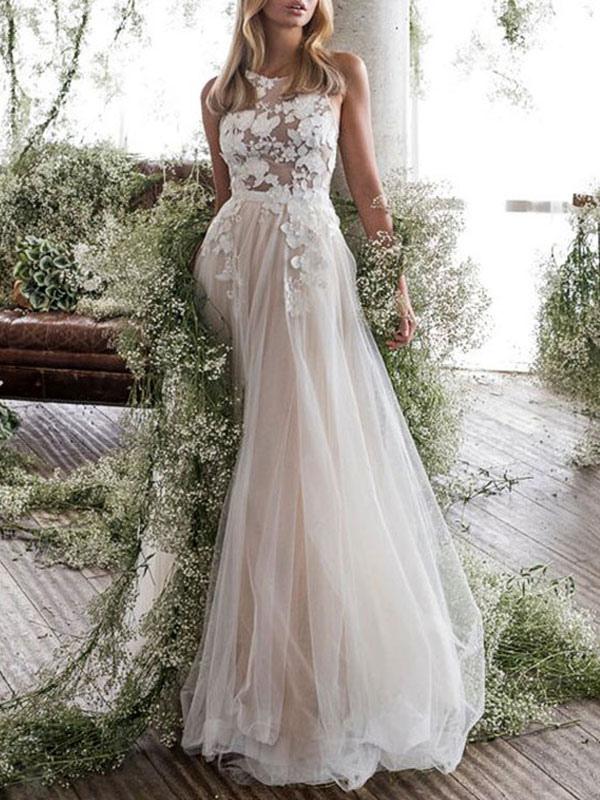 Wedding Dress Jewel Neck A Line Sleeveless Flowers Floorlength Backless Bridal Gowns