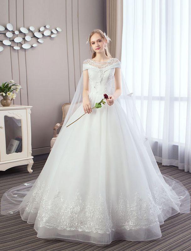 Vestidos de novia de princesa Encaje Watteau Tren Apliques Vestidos de novia de marfil con cuentas