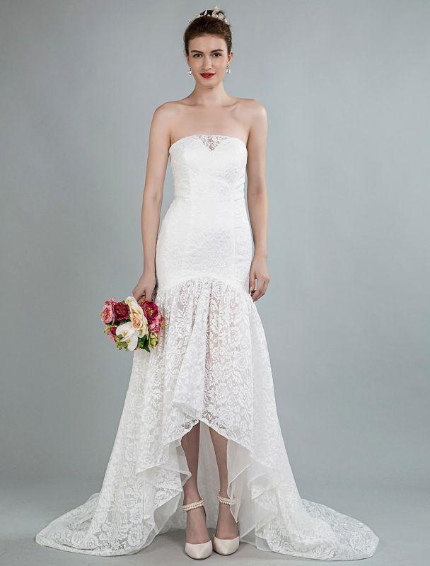 Einfache Brautkleider trägerlose ärmellose Spitze Meerjungfrau Brautkleider mit Zug