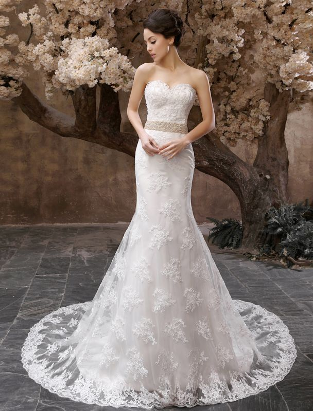 Wedding Dresses Mermaid Strapless Bridal Gown Lace Applique Beading Waist Sweetheart Neck Court Train Wedding Gown