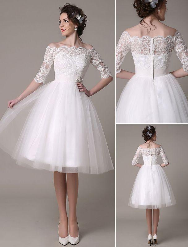 Robes de mariée en dentelle 2021 courtes sur l'épaule une ligne longueur au genou taille strass robe de mariée exclusive