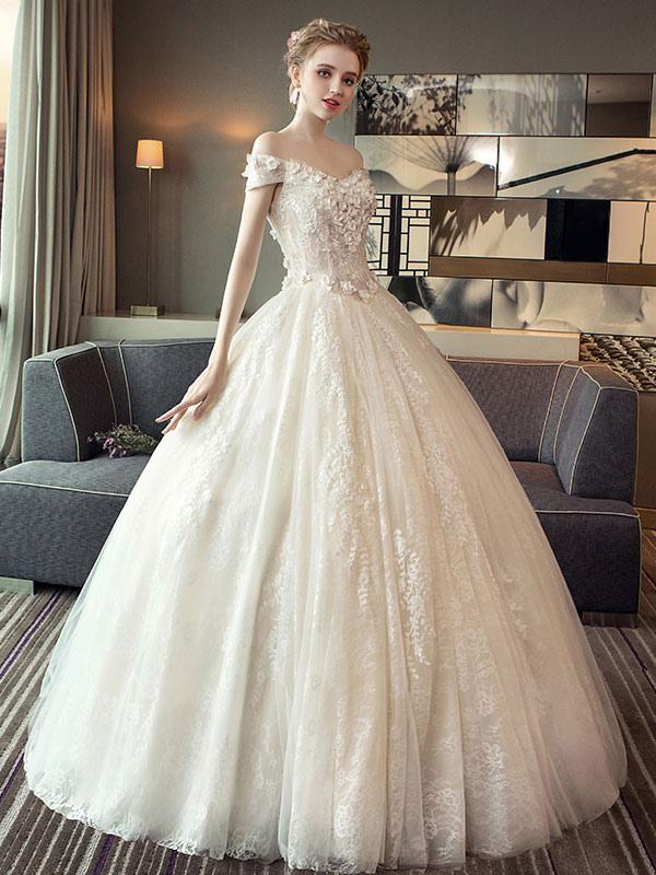 Spitze Brautkleider Prinzessin Ballkleid Brautkleid Schulterfrei Elfenbein Blumen Applique Bodenlangen Brautkleid