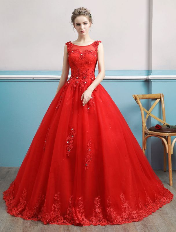 Red Wedding Dresses Lace Applique Beaded Princess Ball Gowns Train Bridal Dress