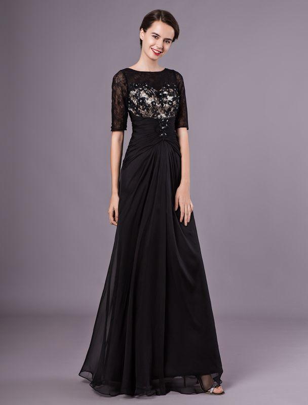 Schwarze Abendkleider Halbarm Spitze Perlen Chiffon Lange Abendkleider Hochzeitsgast Kleid