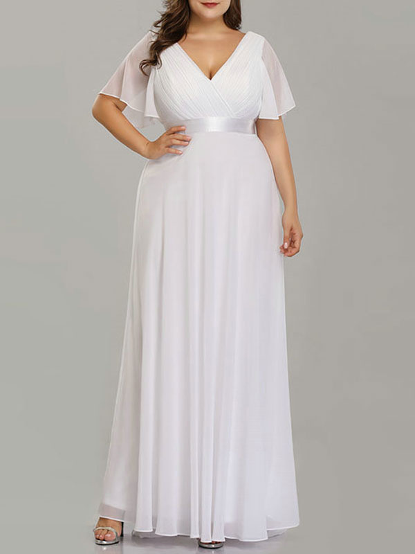 Simple Wedding Dress V Neck Short Sleeves A Line Floor Length Chiffon Sash Plus Size Bridal Gowns With Sweep Train