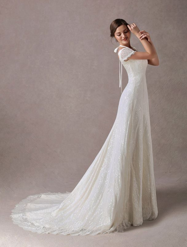 Lace Wedding Dresses Ivory V Neck Short Sleeve A Line Straps Bridal Gowns With Train Exclusive