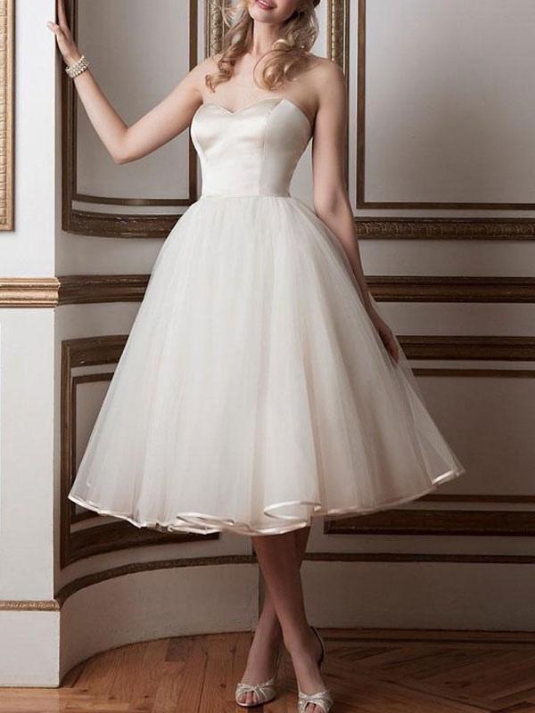 Vintage Brautkleider 2021 Sweetheart Neck Sleeveless A Line Tee Länge Brautkleider