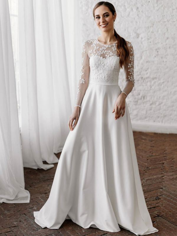 White Simple Wedding Dress A-Line Illusion Neckline Long Sleeves Pearls Trainsatin Fabric Lace Bridal Gowns