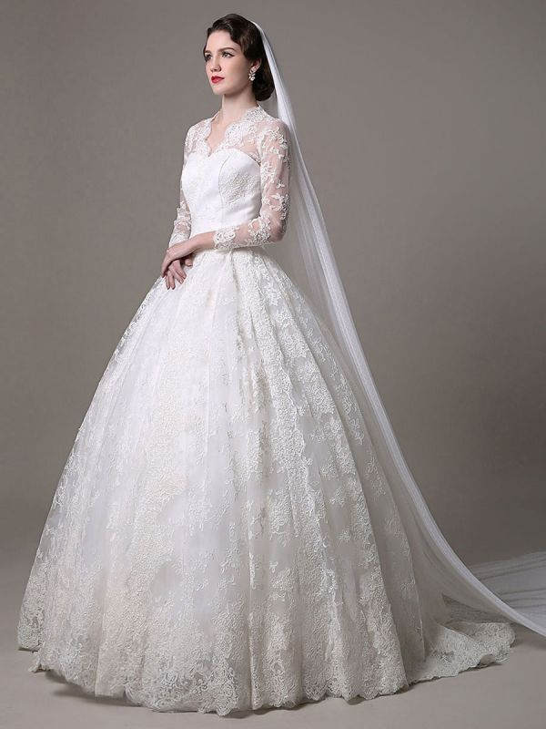 Kate Middleton Royal Wedding Dress Vintage Lace mit V-Ausschnitt und langen Ärmeln Exklusiv