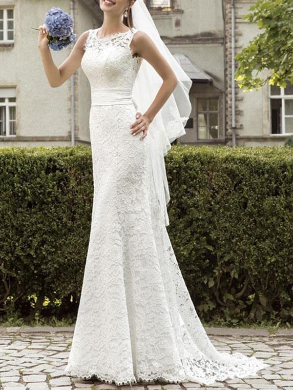 Einfache Brautkleider Spitze Jewel Neck Sleeveless Sash Mermaid Brautkleider mit Zug