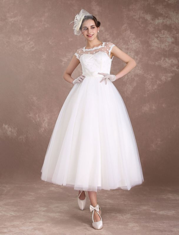 Kurze Brautkleider Vintage 50er Jahre Brautkleid Open Back Polka Dot Elfenbein A Line Tee Länge Hochzeitskleid Exklusiv