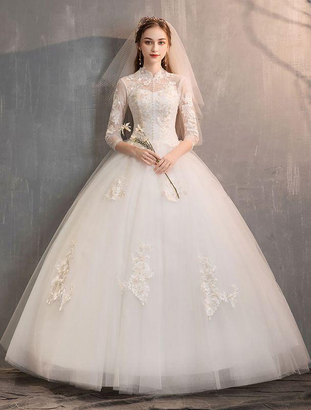 Tüll Brautkleider Elfenbein Illusion Ausschnitt Halbarm Bodenlangen Prinzessin Brautkleid