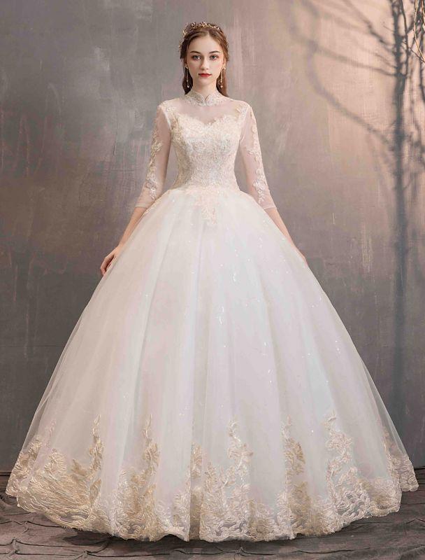Tulle-Wedding-Dresses-Princess-Bridal-Gown-Illusion-Collar-Half-Sleeve-Floor-Length-Bridal-Dress