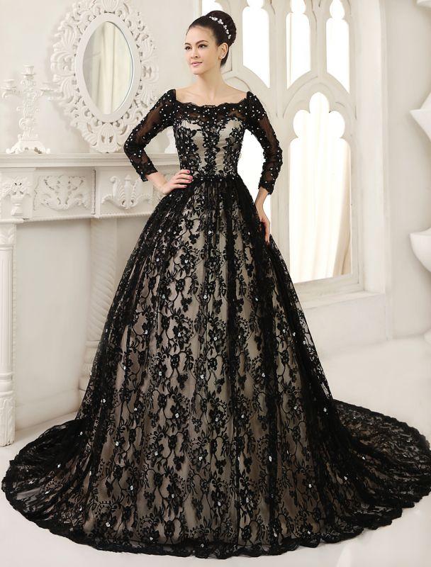 Black Wedding Dress A-Line Scoop Neck Sequin Chapel Train Lace Wedding Gown Exclusive