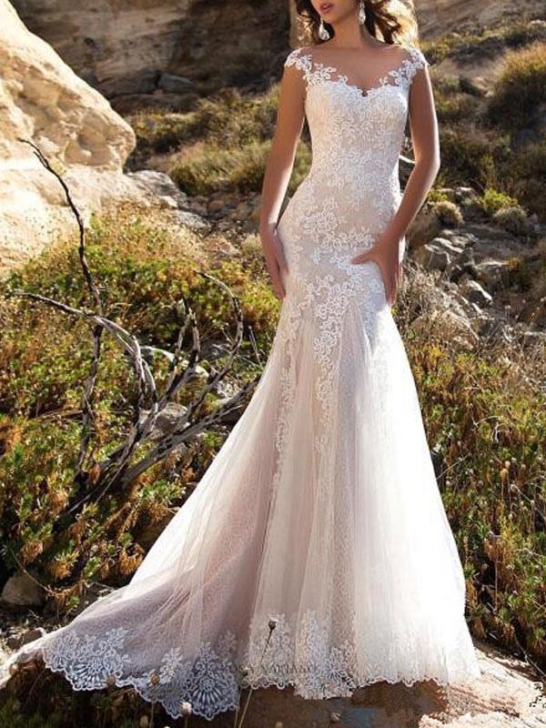 Brautkleid 2021 V-Ausschnitt Meerjungfrau ärmellose Spitzenverzierung Klassische Brautkleider mit Zug
