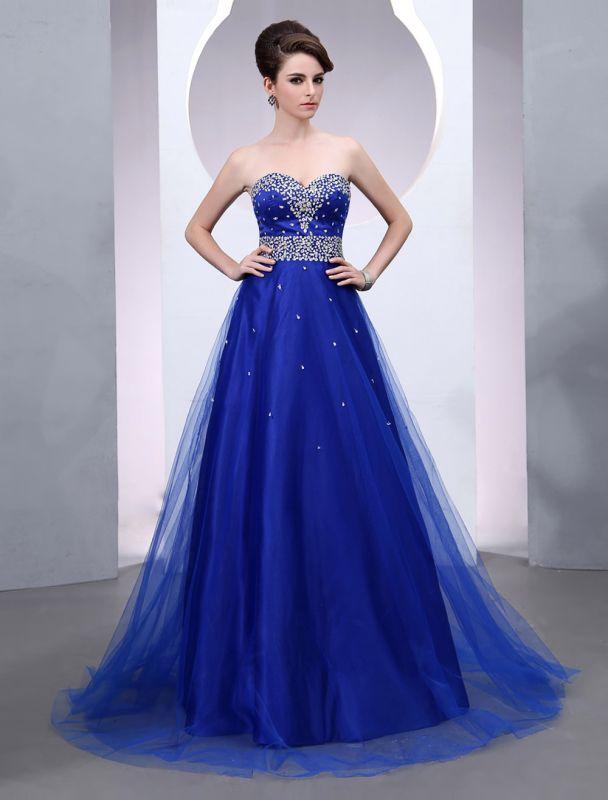 Blaues Abendkleid 2021 Langes Tüll Brautkleid Royal Blue Backless Strapless Sweetheart Court Train Brautkleid