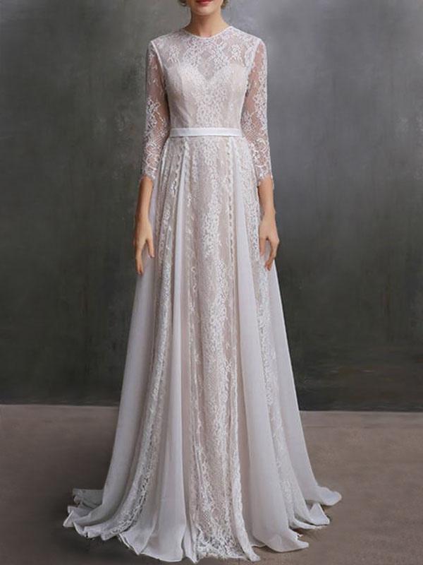 Brautkleid mit Zug A-Linie mit langen Ärmeln Chiffon Jewel Neck Elfenbein Brautkleider