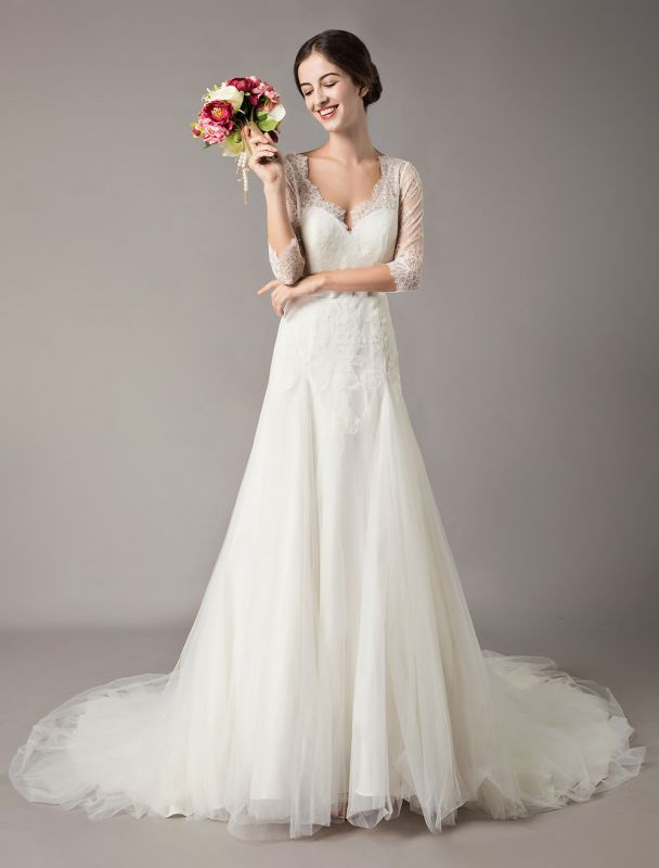 Wedding Dresses A Line Ivory V Neck Lace Tulle Half Sleeve Bridal Dress With Train