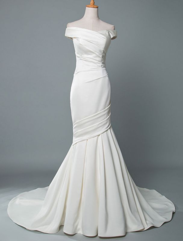 Vintage Wedding Dress Mermaid Off The Shoulder Sleeveless Pleated Satin Fabric With Train Traditional Dresses For Bride