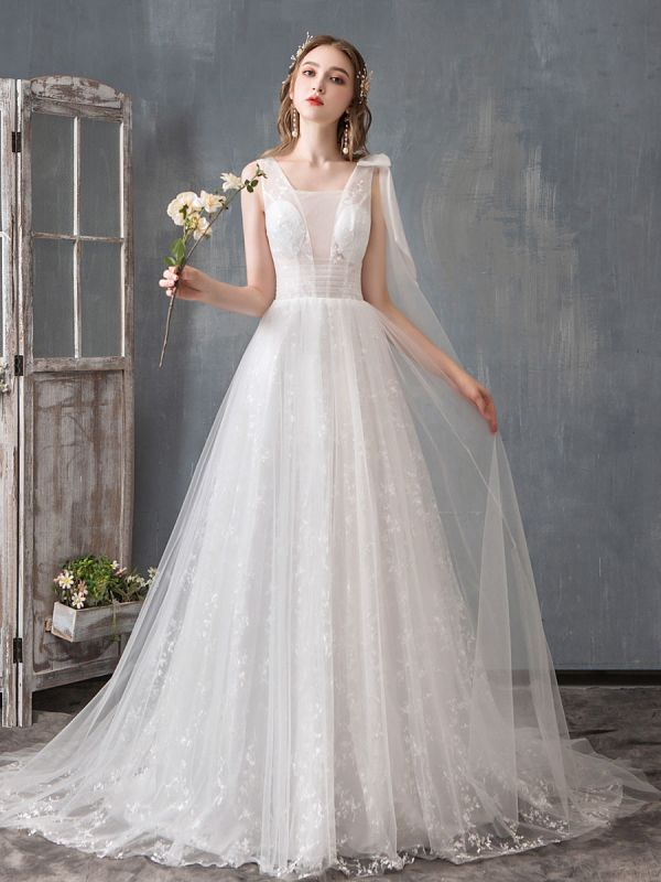 Summer Wedding Dresses 2021 Boho Beach A Line Bridal Dress Lace Applique Tulle Bridal Gown With Train