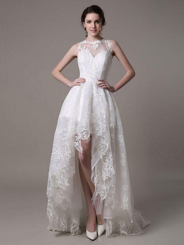 2021 Lace High-Low Brautkleid mit Llusion-Ausschnitt und Rücken exklusiv