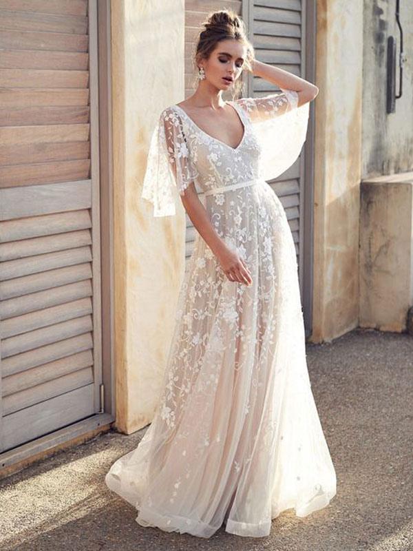 White Lace Wedding Dress V Neck A-Line Wedding Dress Short Sleeves Backless Bridal Dresses