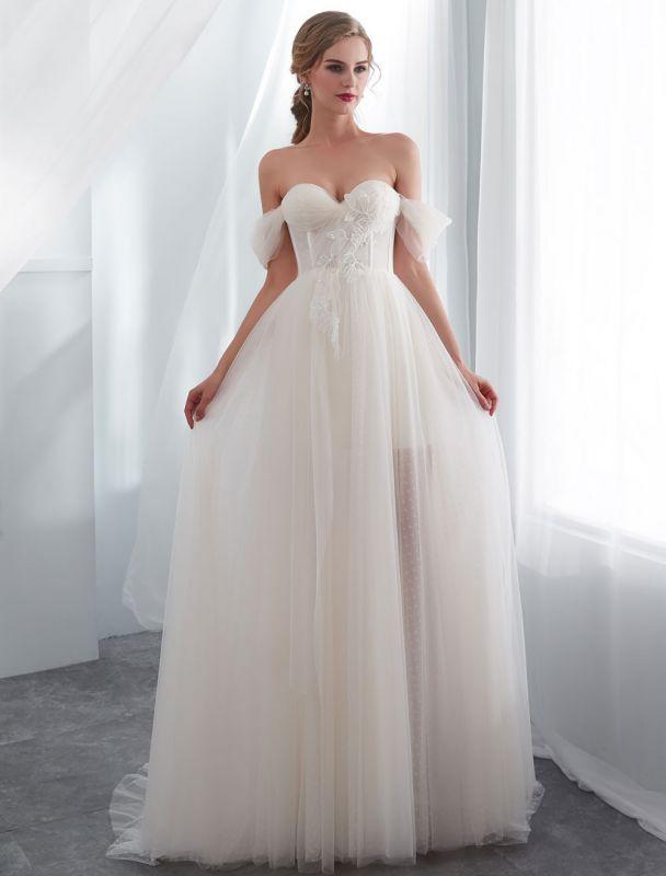 Brautkleider Tüll Elfenbein Schulterfrei Sweetheart Beach Brautkleid mit Schleppe