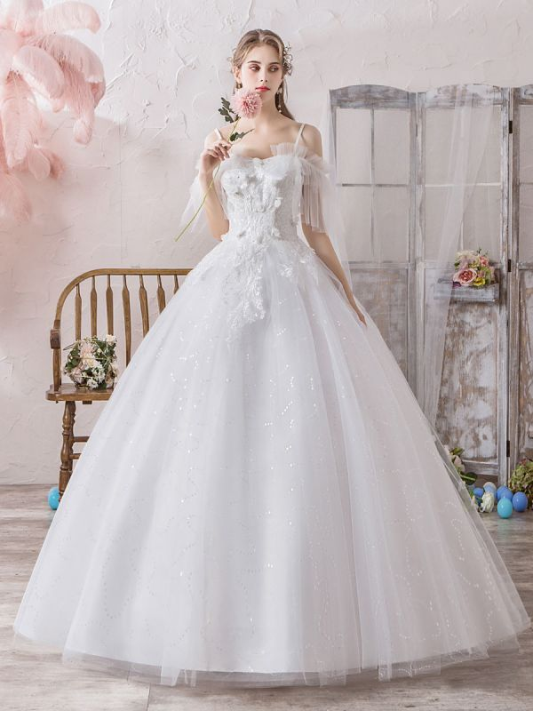Ball Gown Wedding Dress Princess Silhouette Off The Shoulder Short Sleeves Natural Waist Floor Length Bridal Gowns