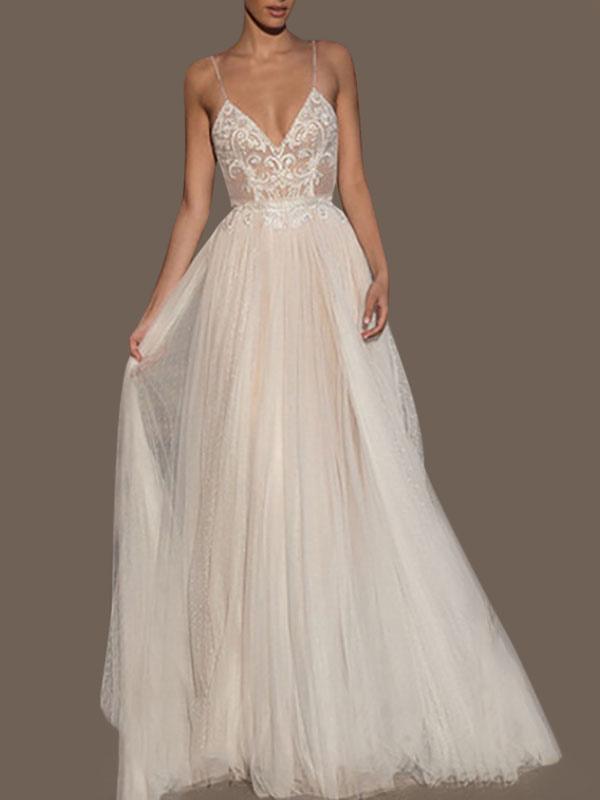 Vestidos de novia Una línea Cuello en V Correas sin mangas Con cuentas Hasta el suelo Vestidos de novia de tul con lunares
