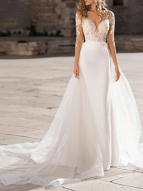 Wedding Dress V Neck Long Sleeve Sheath Floor Length Lace Beaded Bridal Gowns With Tulle Court Train