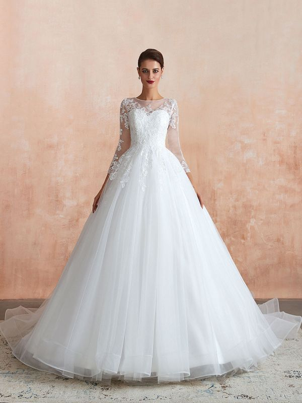Wedding Gown 2021 3/4 Sleeve Jewel Neck Lace Appliqued Beaded Ball Gown Bridal Wedding Dress With Train