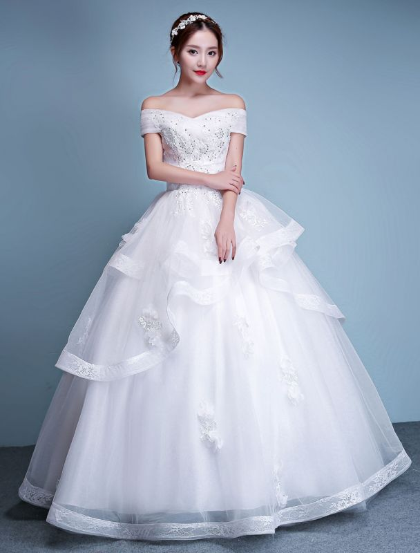Ballkleid-Brautkleider-Prinzessin-Elfenbein-Schulterfrei-Perlen-Boden-Länge-Brautkleid
