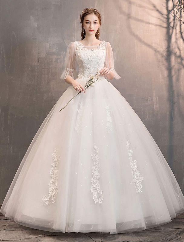 Tüll Brautkleid Elfenbein Spitze Applique Blumendetail Halbarm Prinzessin Brautkleid