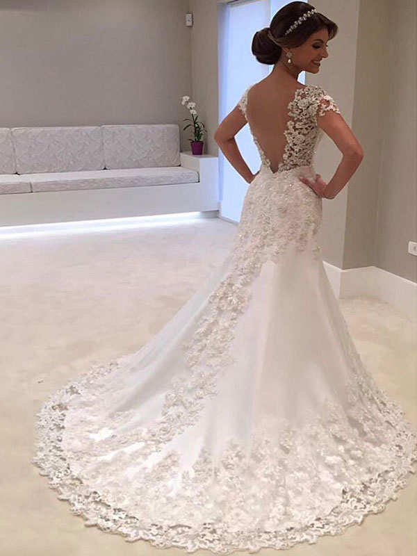 Wedding Dresses 2021 V Neck Short Sleeve Sheath Deep V Backless Lace Beaded Bridal Gowns With Train