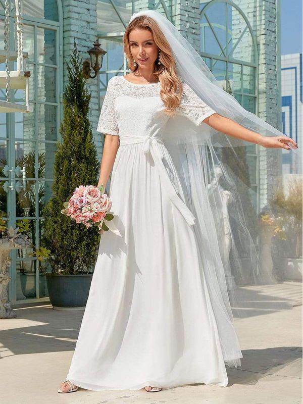 Weißes Einfaches Brautkleid Chiffon Jewel Neck Kurze Ärmel Schärpe A-Linie Lange Brautkleider