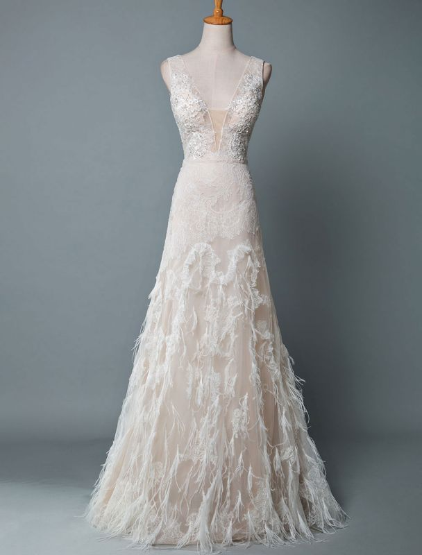 Simple Wedding Dress Lace A Line V Neck Sleeveless Beaded Floor Length Feather Bridal Gowns